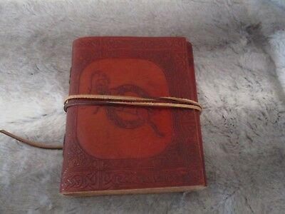 HANDMADE Leather Bound Journal Brown Etched LEATHER Suede Tie Thick Pages