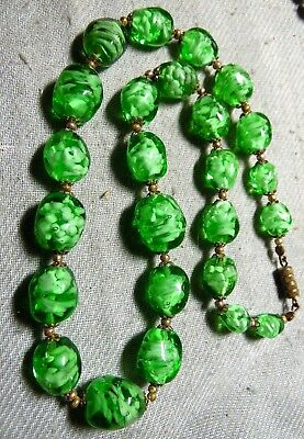 Vintage Stunning Green Color Art Murano Glass Necklace