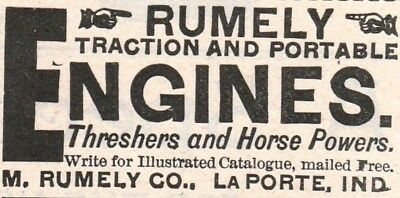 Old 1889 ad~RUMLELY Traction/ Portable ENGINES, M.Rumely Co,LaPorte, IN~Hit/Miss