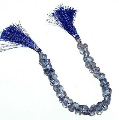 Iolite Briolette Coated Original Rock Crystal Faceted Onion Briolettes 8mm Beads
