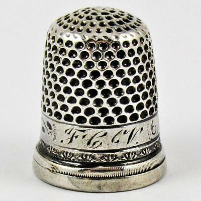 Antique Bright Cut Size 6 Sterling Silver Sewing Thimble