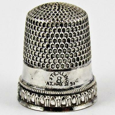 Antique Pat. 1898 Simons Brothers Arrow Size 8 Sterling Silver Sewing Thimble