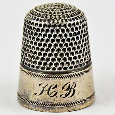 Antique Simons Brothers Size 7 Sterling Silver & Gold Banded Sewing Thimble