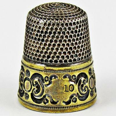 Antique Simons Brothers Circle Size 10 Sterling Silver & Gold Banded Thimble