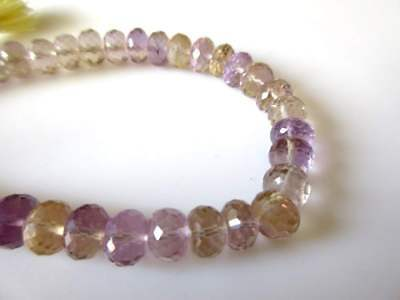 Natural Ametrine Gemstone Faceted Rondelle Beads 8.5-9mm 8 Inch Strand - GDS1120