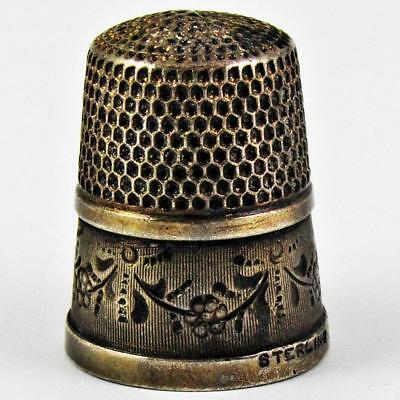 Antique Simons Brothers Garland Size 8 Sterling Silver Sewing Thimble