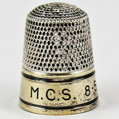 Vintage Simons Brothers Size 9 Sterling Silver & Gold Banded Sewing Thimble