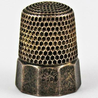 Antique Simons Brothers Panel Size 10 Sterling Silver Sewing Thimble