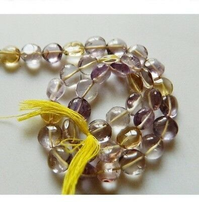 Ametrine Coin Beads Ametrine Stone Button Beads 8mm Beads 13 Inch Strand