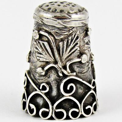 Vintage Mexico Leaf & Vine Mexican Sterling Silver Sewing Thimble