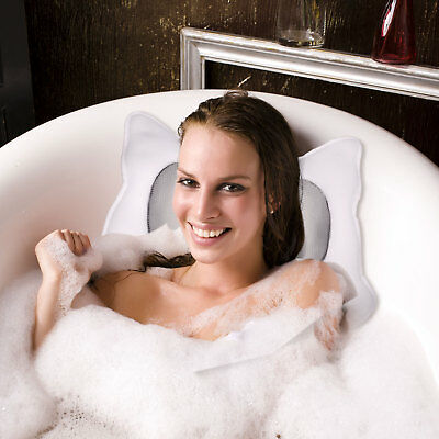 Non-Slip Cushioned Bath Tub Spa Pillow with Suction Cups Great Relaxing Bathtub