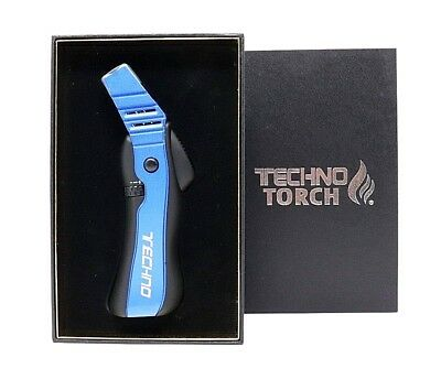 Techno Blue Powerful Refillable Butane Torch Lighter Easy Ignition High Quality
