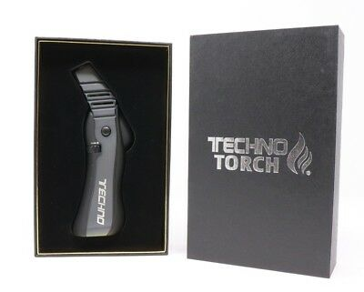 Techno Grey Powerful Refillable Butane Torch Lighter Easy Ignition High Quality