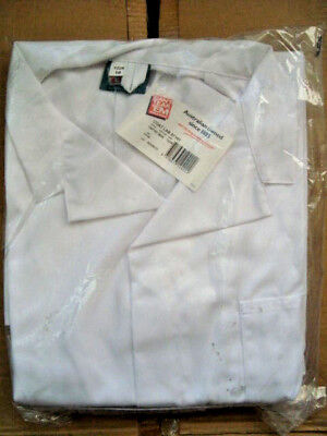DUST COAT/ LAB COATin WHITE size 122R  poly/cotton free post (Cant Tear 'Em)