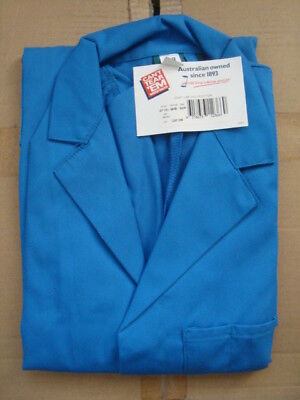 DUST COAT/ LAB COAT in MID BLUE size 92R  poly/cotton free post (Cant Tear 'Em)