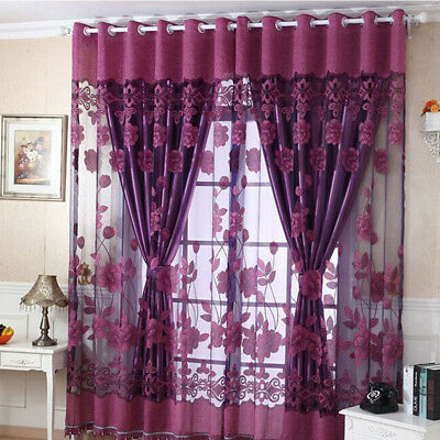 Luxurious Jacquard Window Curtains Burnout Tulle for Living Room Bedroom Door