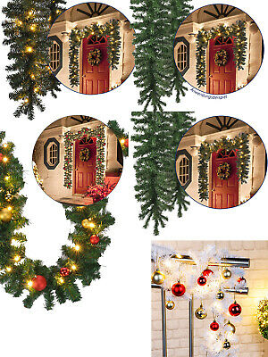 2.7m/ 5m Christmas Garland Pre Lit Decorated Bauble LED Light Outdoor Decoration