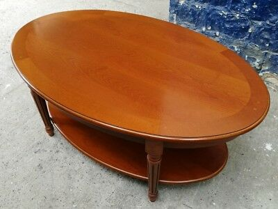 High Quality Cherry Finish Oval Coffee Table With Shelf