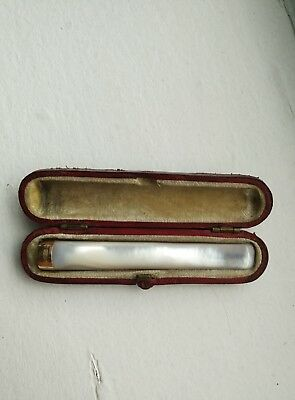 Antique 15ct Gold Mother Of Pearl Cheroot Holder Chester Cased