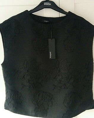 Autograph Marks & spencer black jacquard smart top work office 12 NEW