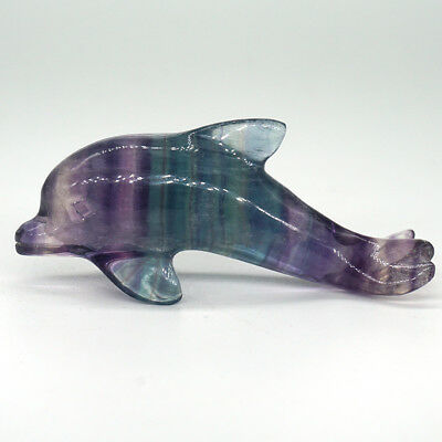 Rainbow Fluorite Dolphin Statue Healing Crystal Natural Gemstone Fish Figurine