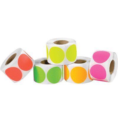 """Tape Logic Inventory Circles Fluorescent Packs 1"""" Assorted Colors 5000/Case"""