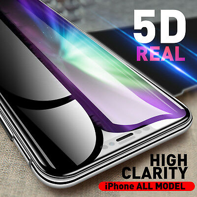 5D Full Cover Tempered Glass Screen Protector for iPhone  X Xs Max Xr 8 7 6 Plus