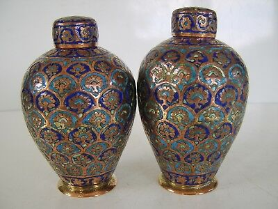 2 Antique Kashmir Enamel Copper Vase Jar Indian Persian Ottoman Saffavid Islamic