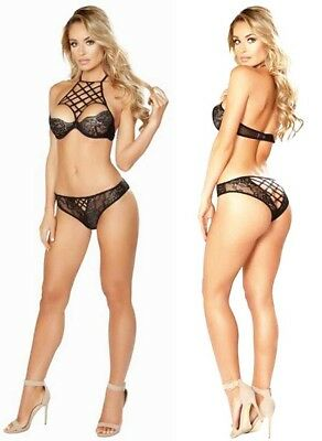 Lady Black Lace Wired Push Up Bra Underwear G-string Set Sexy Lingerie SizeS-2XL