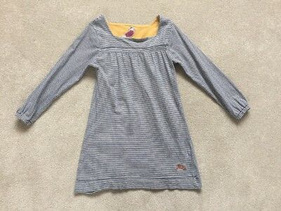 Joules Navy Cream Striped Long Sleeve Dress Size 6 Years Clean, nice condition