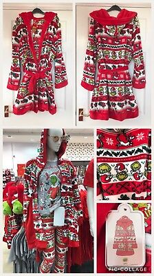 Primark Ladies The Grinch Dr Seuss Dressing Gown Hooded Robe