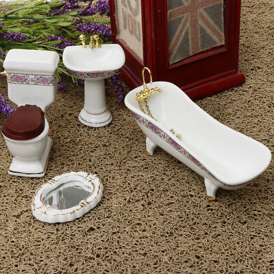 4Pcs Ceramic Bathroom Furniture Set for 1/12 Dollhouse Miniature Accessories