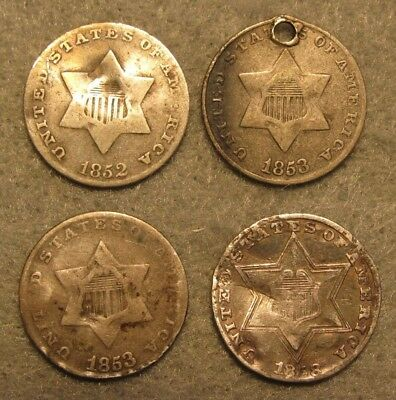 4 PIECE THREE CENT SILVER US COIN LOT 1852 1853 & 1858 GOOD-FINE Details