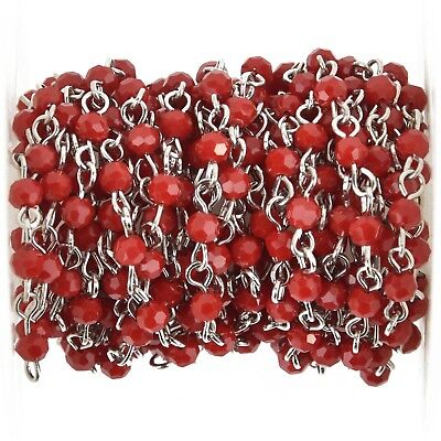 1 yard Dark Red Crystal Rosary Chain, SILVER, 4mm round faceted beads, fch1061a