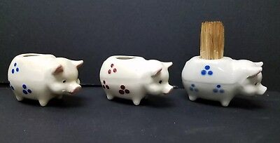 Antique / Vintage Ceramic Pig Mini Toothpick Holders