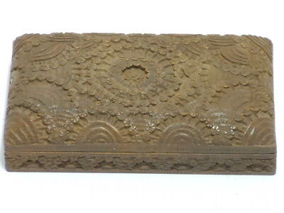 Vintage Ornate Carved Hinged All Wood Wooden Jewelry Box Trinket Very Nice