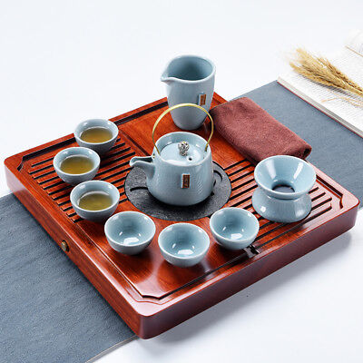 Chinese kungfu tea set solid wood tea tray mahogany table crackle glaze pot cups