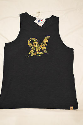 415713a0aad1b NEW AUTHENTIC MAJESTIC MLB Milwaukee Brewers Men s Cut Off Tank ...
