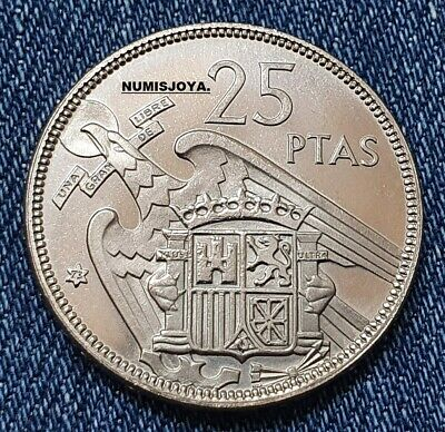 FRANCO. ESCASA moneda AUTENTICA de 25 Pesetas PROOF año 1957 en estrella 73.
