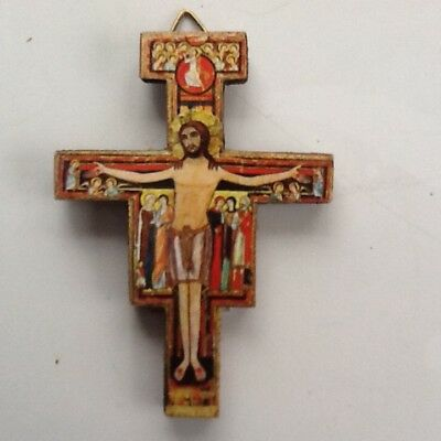 """Small Wood 3"""" San Damiano Cross Crucifix Made In Italy. Saints, Angels, Icons."""