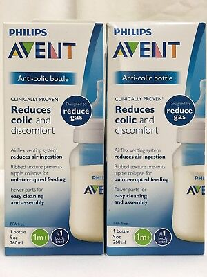 LOT OF 2 PHILIPS AVENT ANTI-COLIC BABY BOTTLES 1M+ REDUCE AIR GAS WIDE NECK 9 oz