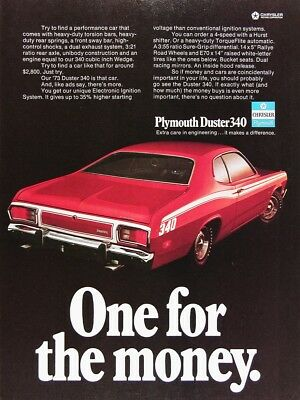 1973 PLYMOUTH DUSTER 340 Genuine Vintage Ad ~ MSRP $2,800