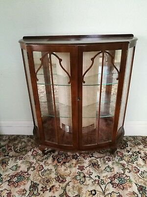 Antique ~China Cabinet~ Display Cabinet ~ Bow Front~ Glass Shelves ~VGC