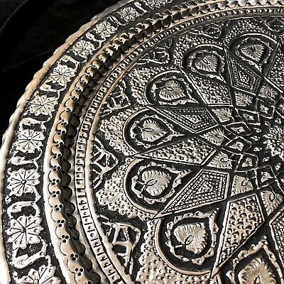 """Antique 15.75"""" Mid-Eastern Silver Tray Large High Relief Repose"""