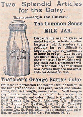 Old 1893 ad~Common Sense Milk Jar & THATCHER'S Orange Butter Color~Potsdam, N.Y.
