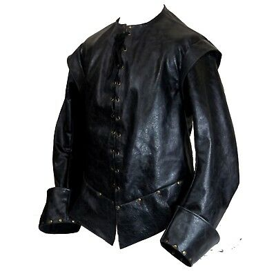 Leather Longsleeve Medieval Doublet Tunic LARP MADE TO ORDER Choose Colour