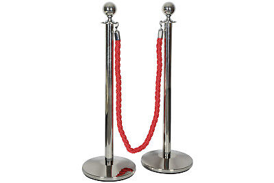 Citronic Vip Queue Barrier 2X Ball Head Stainless Steel Posts & 1.5M Rope Set