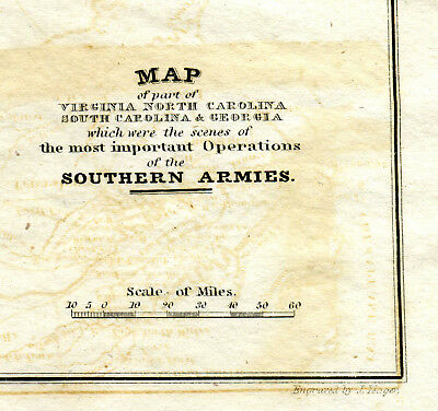 ca1820 REVOLUTIONARY WAR MAP OF OPERATIONS OF THE SOUTHERN ARMIES N & S CAROLINA