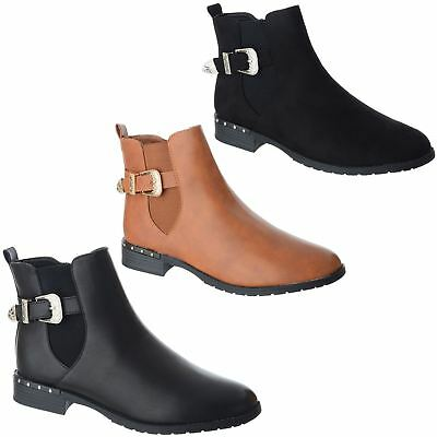 New Womens Ladies Ankle Boots Studs Buckle Zip Low Heel Casual Flat Shoes Sizes