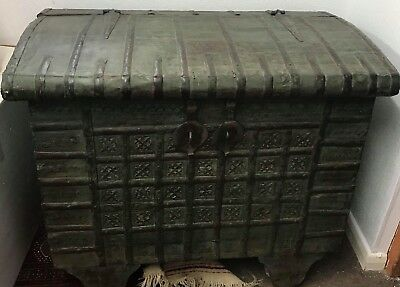 Antique Wood And Iron  Dowry Chest  18th/ 19C